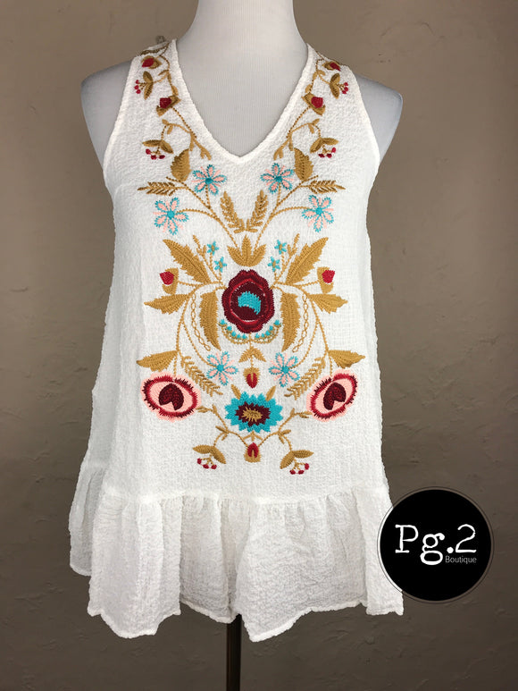 Embroidered Heaven Top - white/patterned
