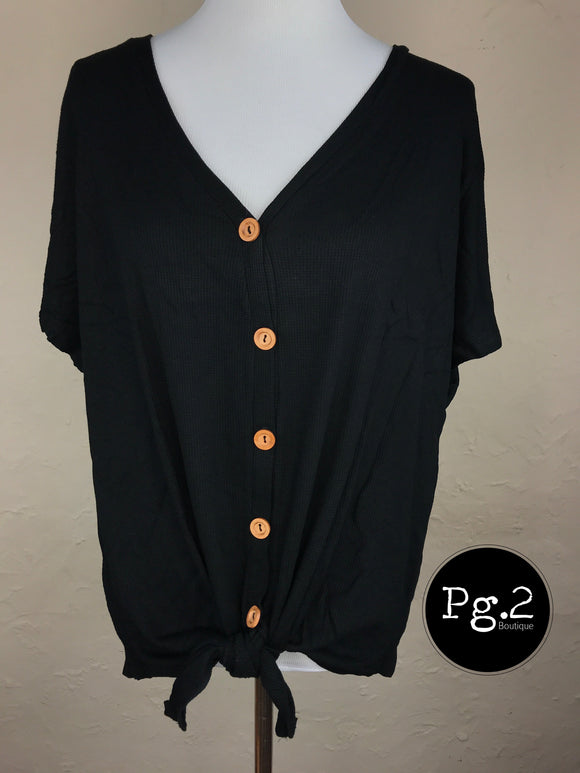 Button-up Goodness Top - black