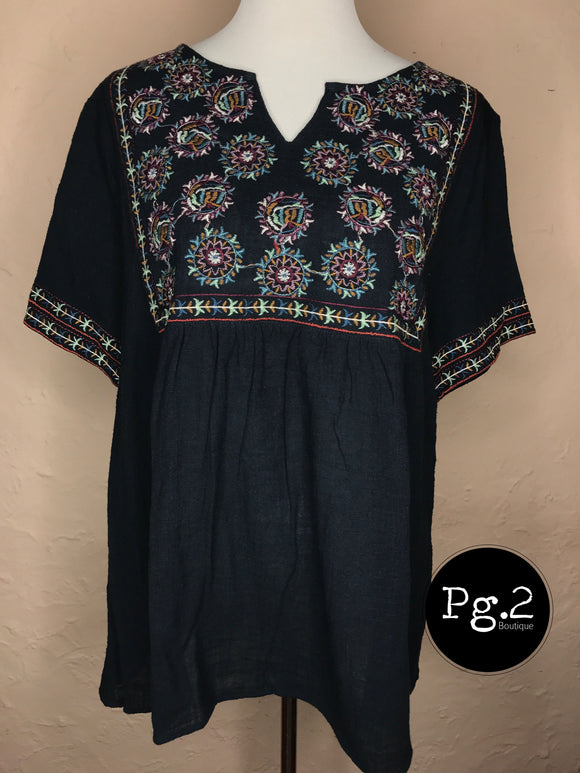 Embroidered Peasant Top - navy