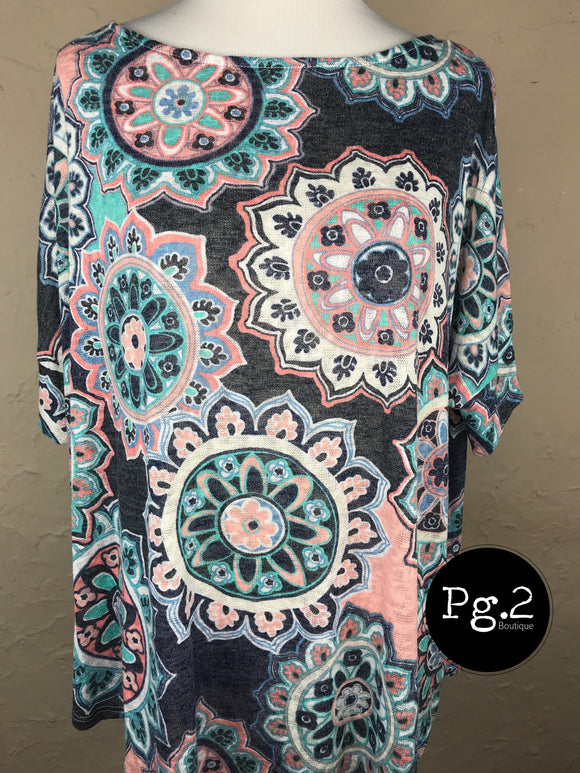 Paisley Print Top - gray background