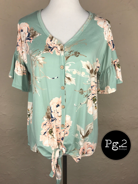 Pretty as a Picture Top - mint/floral