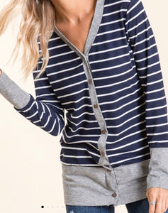 Striped Cardigan - navy/grey