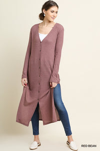 Long Waffle Weave Cardigan - red bean and black
