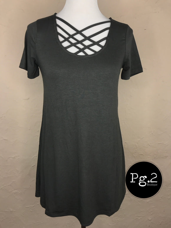 Lattice Neck Top - grey