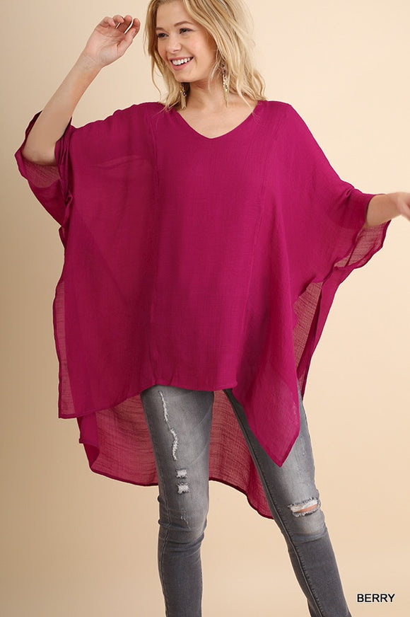 Breezy Cover Blouse - magenta and grey