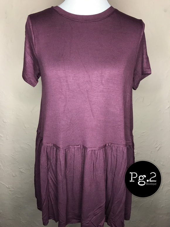 Ruffle Bottom Top - eggplant