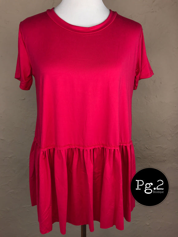 Ruffle Top - hot pink