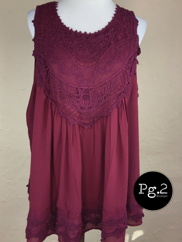 Flowy Lace Top - wine