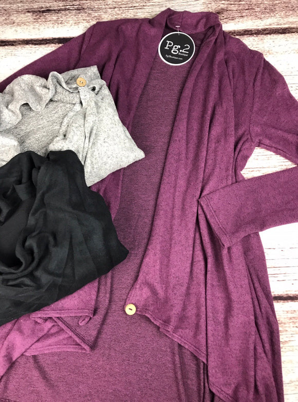 Your Favorite Cardigan - purple, black, grey, and burgundy