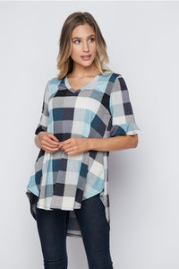 Elegant Plaid V-neck