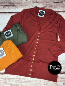Snap-up Cardigan (three-quarter length sleeves) - mustard, olive, brick red