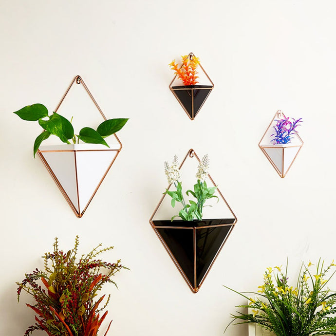 Geometry Acrylic Pot with Iron Plant Holders - Wanderlushinterior - Planters on Sales with Free shipping