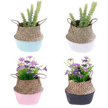 Load image into Gallery viewer, Handmade Colour-block Seagrass Wicker Basket - Wanderlushinterior - Planters on Sales with Free shipping