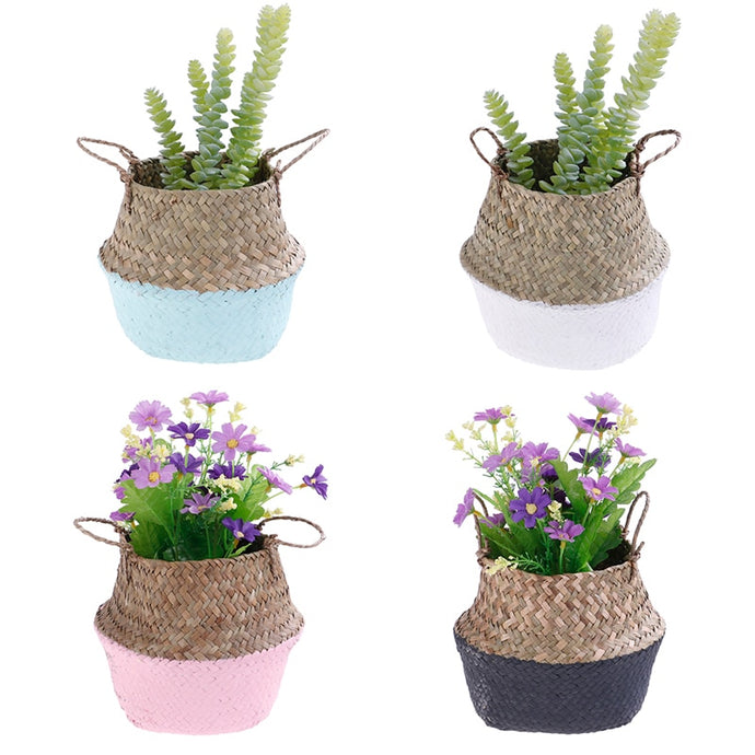 Handmade Colour-block Seagrass Wicker Basket - Wanderlushinterior - Planters on Sales with Free shipping