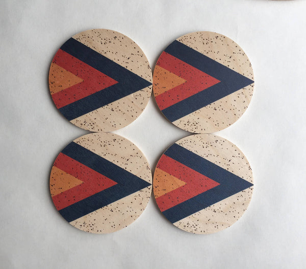 Arrow Printed Wood Coasters - 4pc set