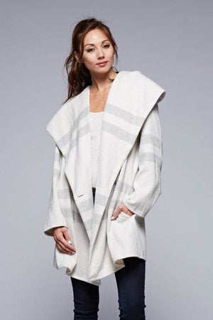 Striped One Button Winter Coat