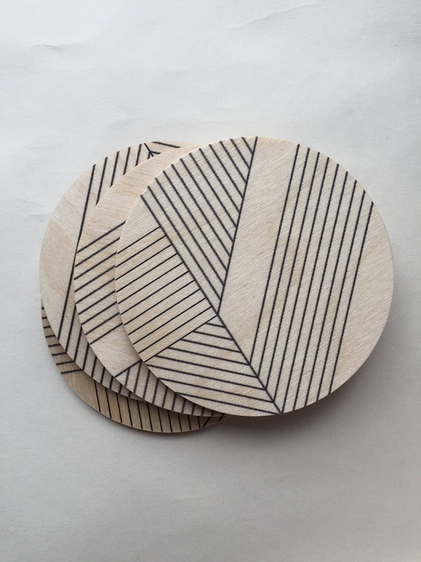 Deco Printed Wood Coasters - 4pc set