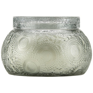 Chawan Bowl 2 Wick Embossed Glass Candle