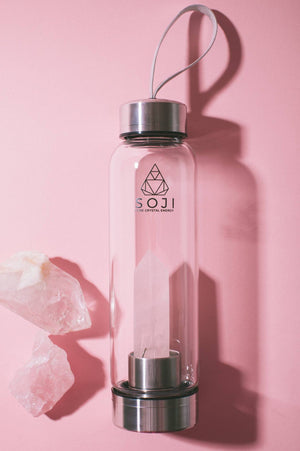 Rose Quartz Crystal Elixir Water Bottle
