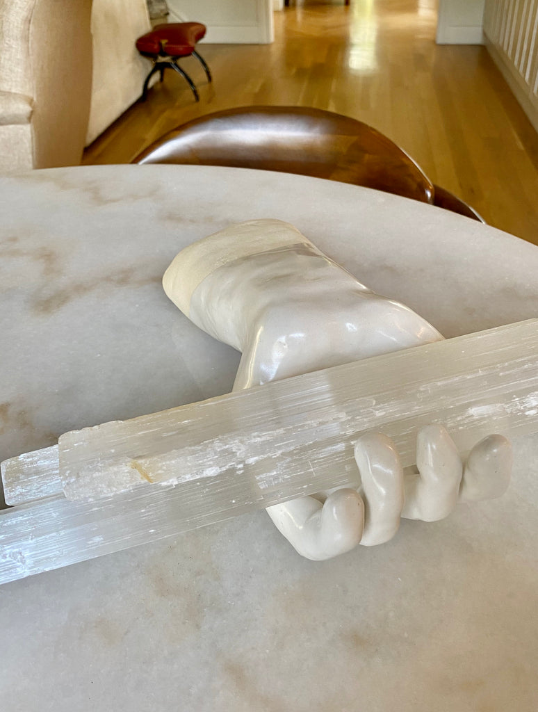 Selenite Wands in a Ceramic Hand for Fiore Wylde by Tiffany Bausch Weld