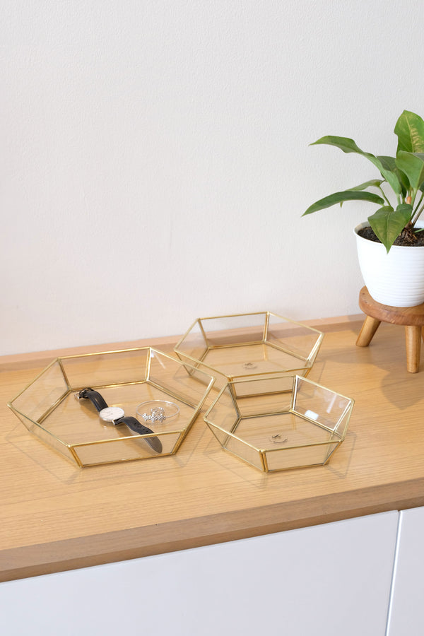 Honeycomb Brass & Glass Dish