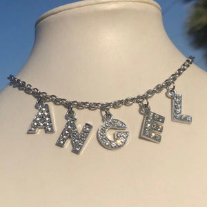 Angel Bling Letters Rhinestone Choker Necklace - Pwrfull