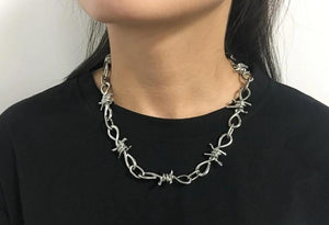 barbed wire chain necklace