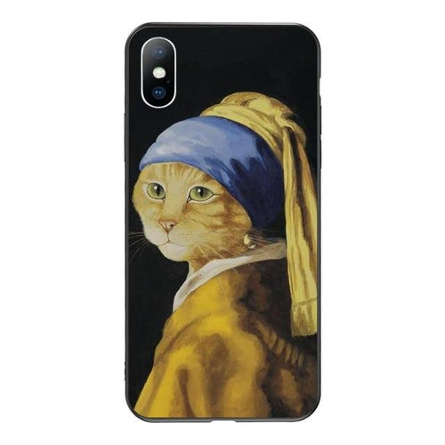 cat art phone case girl with a pear earring painting