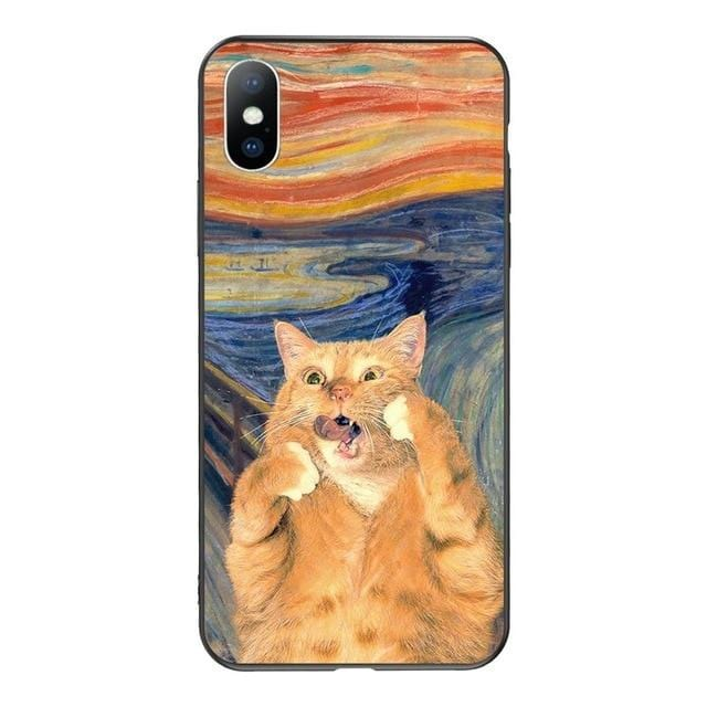 the scream cat art aesthetic phone case
