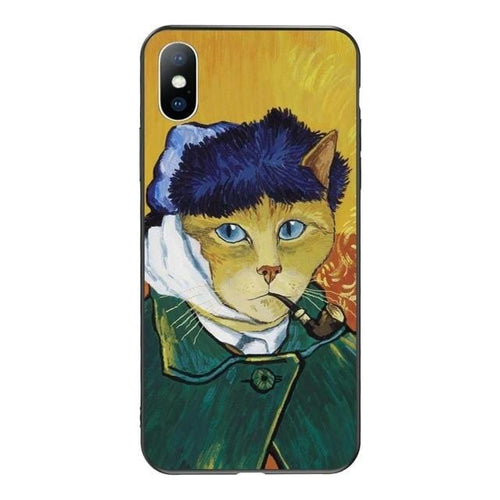 aesthetic art cat phone case Van Gough