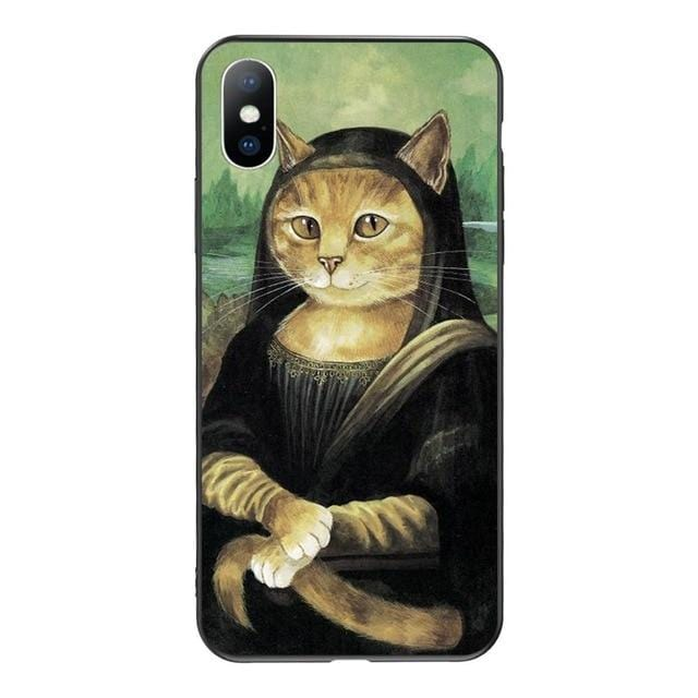 Mona Lisa aesthetic art cat phone case for iPhone