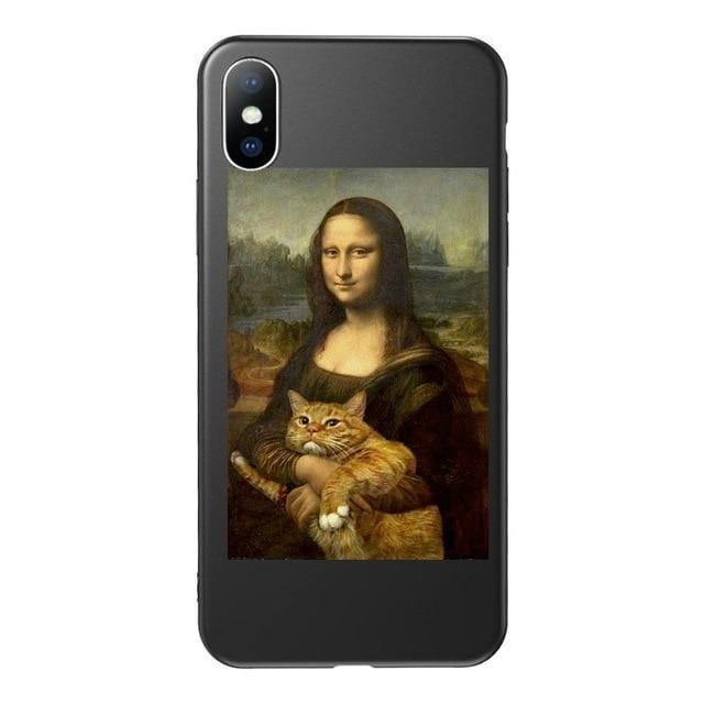 the mona lisa cat art aesthetic phone case