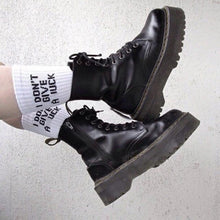 Load image into Gallery viewer, aesthetic grunge i don't give a fuck socks