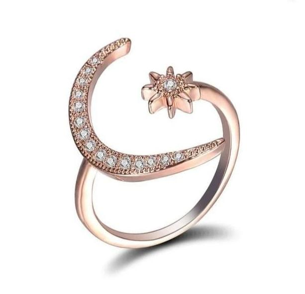 aesthetic boho crescent moon flower ring