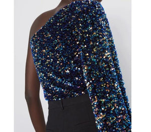 Asymmetric Iridescent Sequin Top