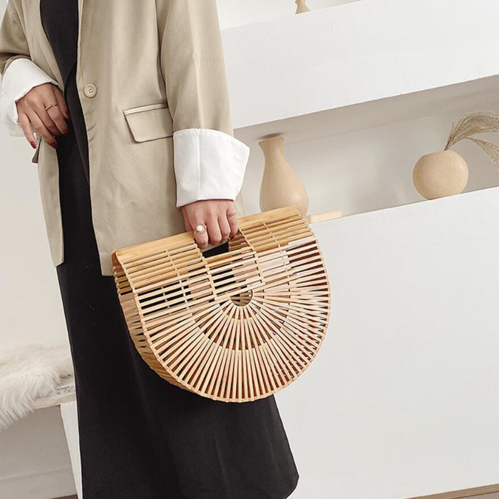 Wooden Straw Bag