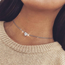 Load image into Gallery viewer, Crystal Heart Choker Necklace - Pwrfull