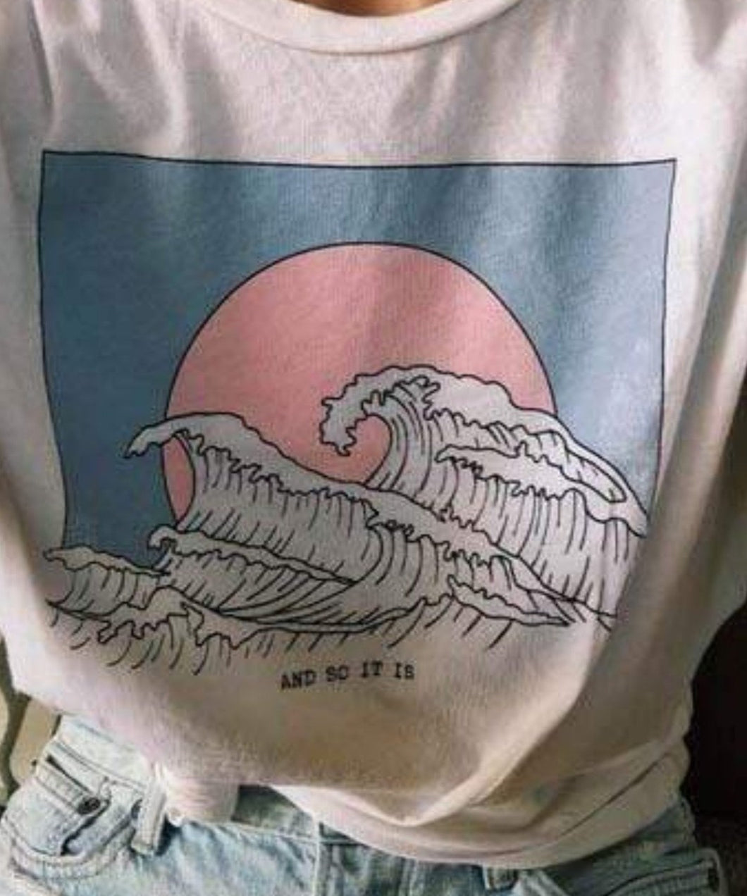 aesthetic retro grunge t shirt ocean wave