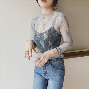 Lace Floral Embroidery Shirt