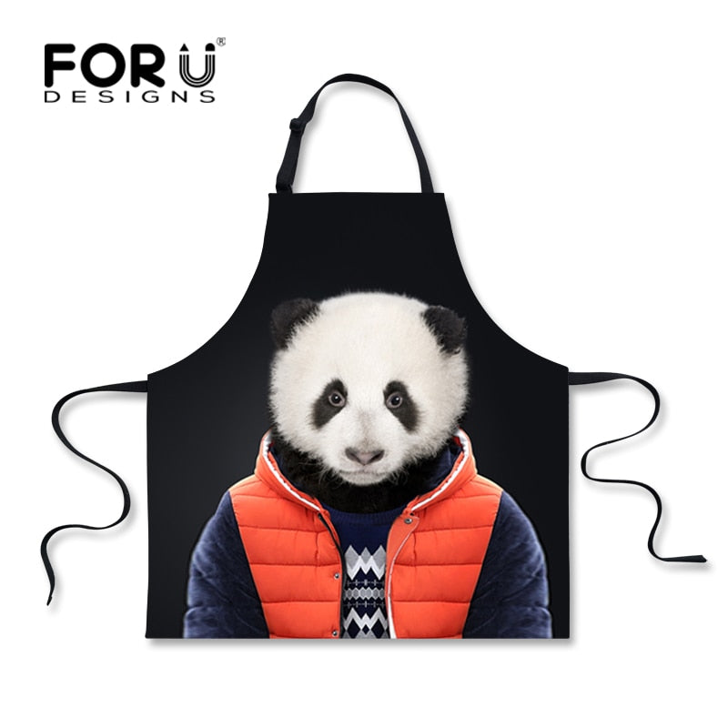 Black Restaurant Kitchen Aprons Kawaii Women Beautiful Aprons,Cute Panda Monkey Print Tablier Funny Adult Bib Home Garden Apron