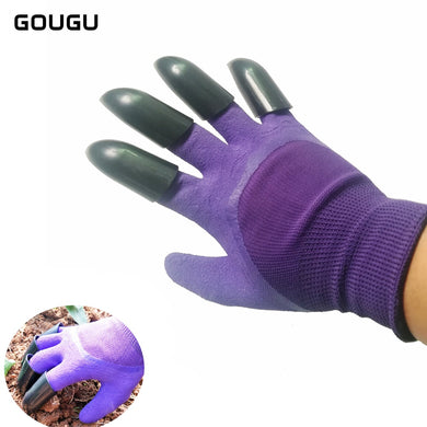 GOUGU Newest Gardening Gloves for Dig Planting Genie Garden Gloves with 4 ABS Plastic Claws 3 Color