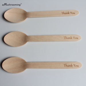Organic Cutlery| Wooden Disposable Cutlery Set Spoon Thank you, Eco-Friendly, Biodegradable, Compostable Cutlery| Party Supplies