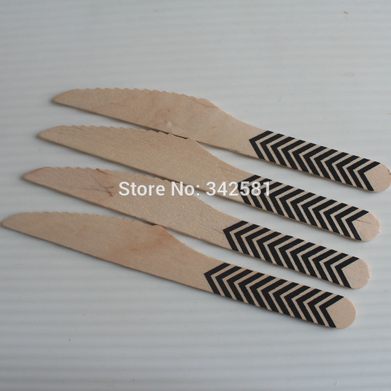 Disposable and Compostable Wooden Utensils - 20 Pieces - Eco Natural - Black Arrow Wood Knife Butter knife Baby Shower Party