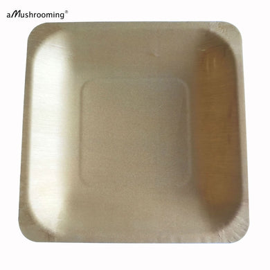 14cm biodegradable compostable Disposable Wood Plate 100 Square Plates Wedding Party Plate Baby Shower Buffet restaurant