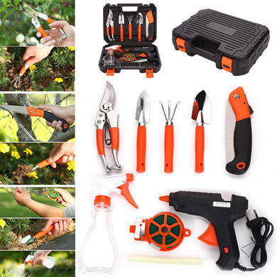 9pcs/set Gardening Tool Kit  Bonsai Toolbox Stainless Steel Multi-function Kit Cutter Scissors Tool Set Drop Shipping