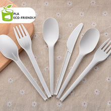 Load image into Gallery viewer, 1000x Disposable Fork Knife Spoon Compostable PLA Biodegrade Food Grade Spoons Knives Forks16.5mm Eco-friendly White Black