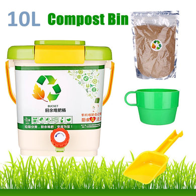 10L Kitchen Compost Bin Recycle Composter Aerated Compost Bin PP Organic Homemade Trash Can Bucket Kitchen Food Waste Bins