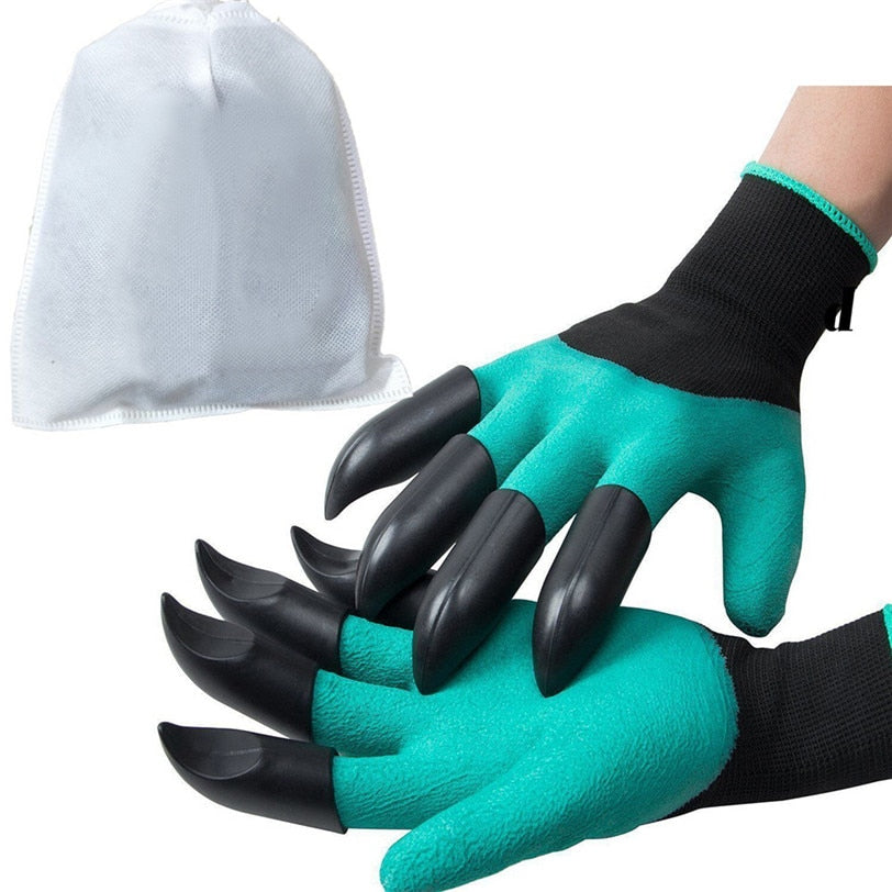 1 Pair 2 Claws Gardening Gloves for garden Digging Planting with 8 ABS Plastic Claws Digging Planting Latex Work Glove