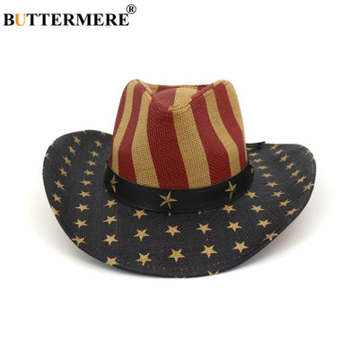 BUTTERMERE Vintage Hat Cowboy Men American Flag Retro Western Cowboy Hat Straw Summer Beach Male Female Wide Brim Sun Hat
