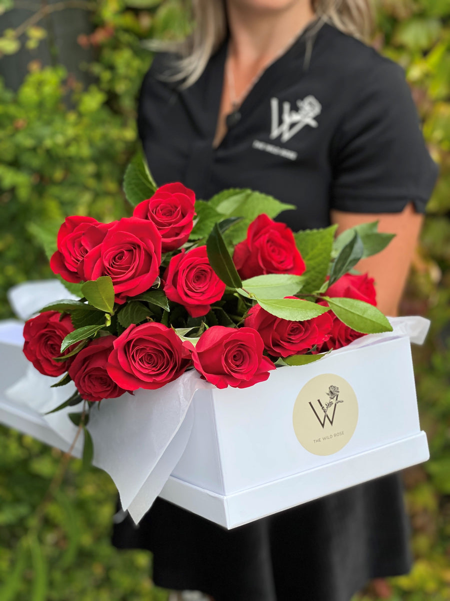 One Dozen Red Roses in Box